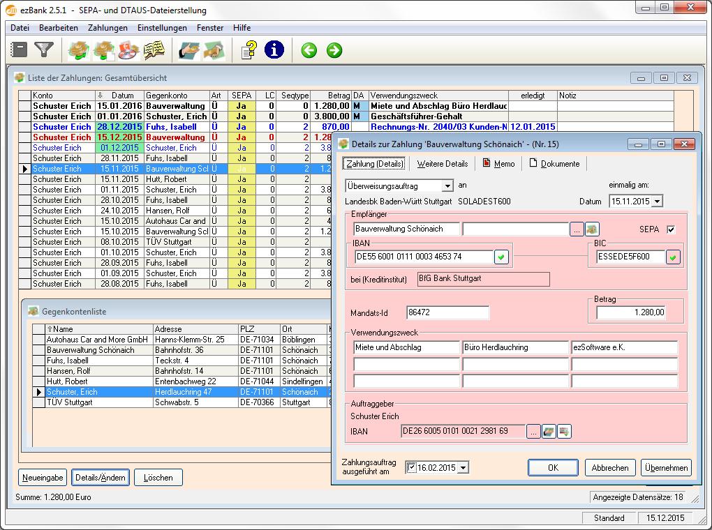 Banking-Anwendung zur SEPA-Dateierstell.
